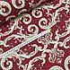 Ткань поплин (ТУРЦИЯ шир. 2,4 м) орнамент бело-бежевый на бордовом, фото 4
