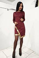 Бордовое  женское платье асимметричного кроя