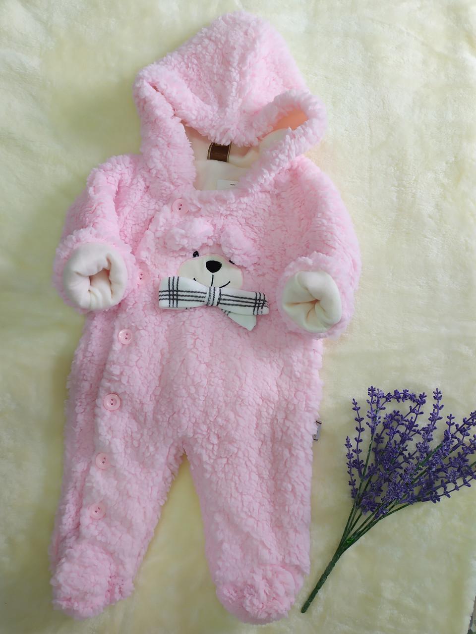"""Демисезонный человечек травка """"Мишка"""", розовый"""