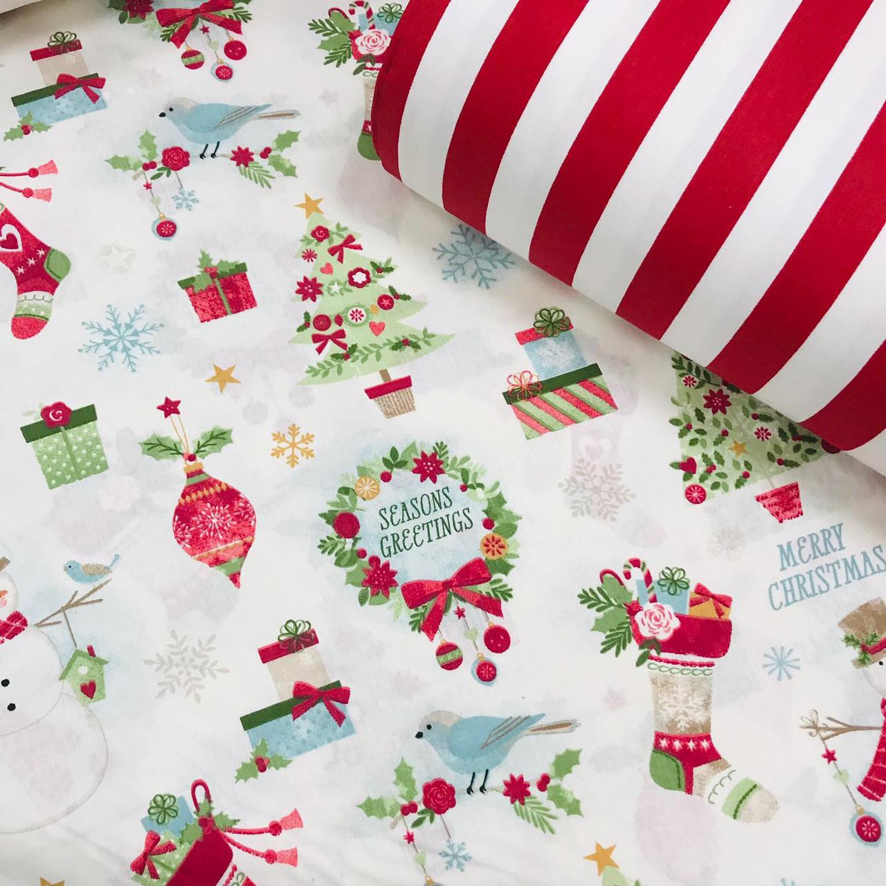Хлопковая ткань (ТУРЦИЯ шир. 2,4 м) снеговики, елки, подарки красно-зеленые на белом