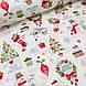 Хлопковая ткань (ТУРЦИЯ шир. 2,4 м) снеговики, елки, подарки красно-зеленые на белом, фото 2