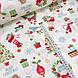 Хлопковая ткань (ТУРЦИЯ шир. 2,4 м) снеговики, елки, подарки красно-зеленые на белом, фото 4