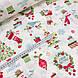 Хлопковая ткань (ТУРЦИЯ шир. 2,4 м) снеговики, елки, подарки красно-зеленые на белом, фото 3