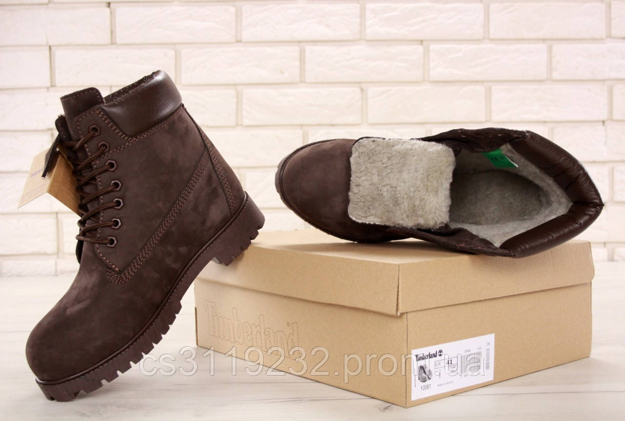 Мужские ботинки зимние Timberland Ginger (нат.мех) (коричневый)