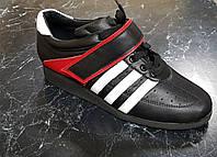 Штангетки черные с красным (для спортзала) Кожа (гарантия 6 месяцев)