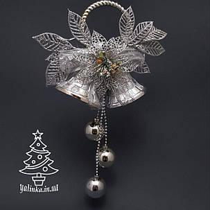 Колокол новогодний средний серебро 0280, фото 2