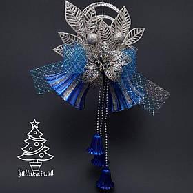 Колокол новогодний большой синий 0283