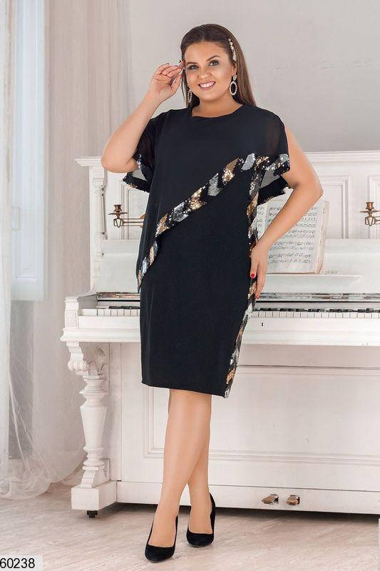 Красивое платье больших размеров с пайетками черное, фото 2