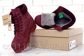 Женские ботинки зимние Timberland (мех) (бордовый)