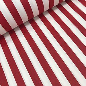 Ткань поплин полоска красная крупная ( 2 см) на белом (ТУРЦИЯ шир. 2,4 м)