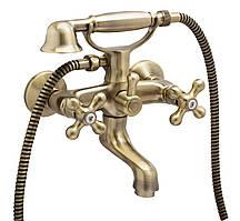 Двухвентильный смеситель для ванны Genebre NEW REGENT CLASSIC с душевым гарнитуром (бронза)