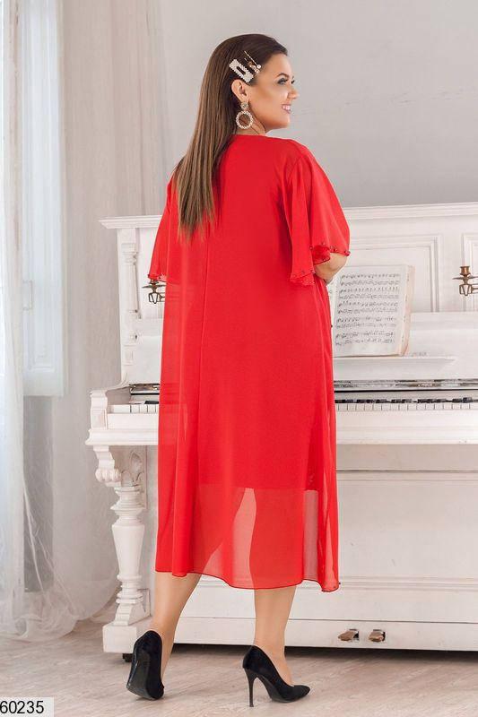 Красивое платье для полных красное, фото 2