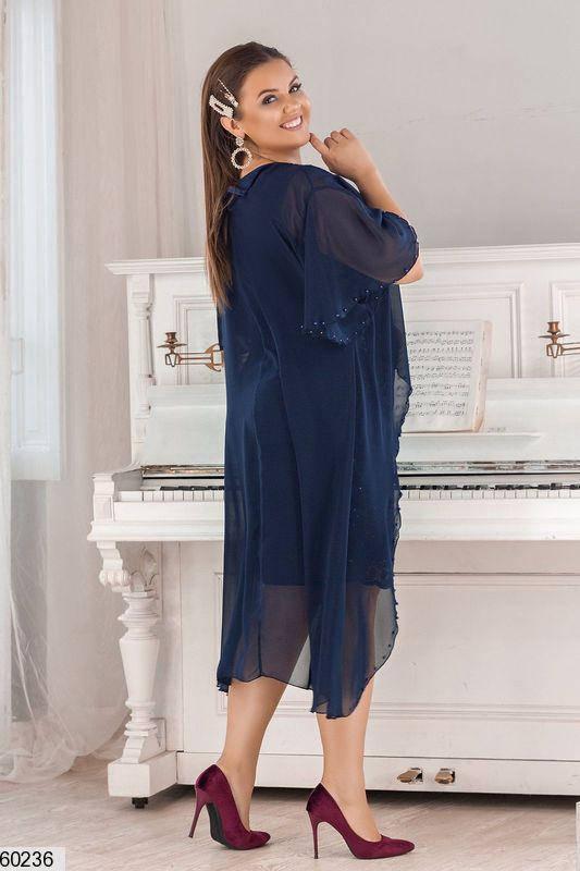 Красивое платье для полных синее, фото 2