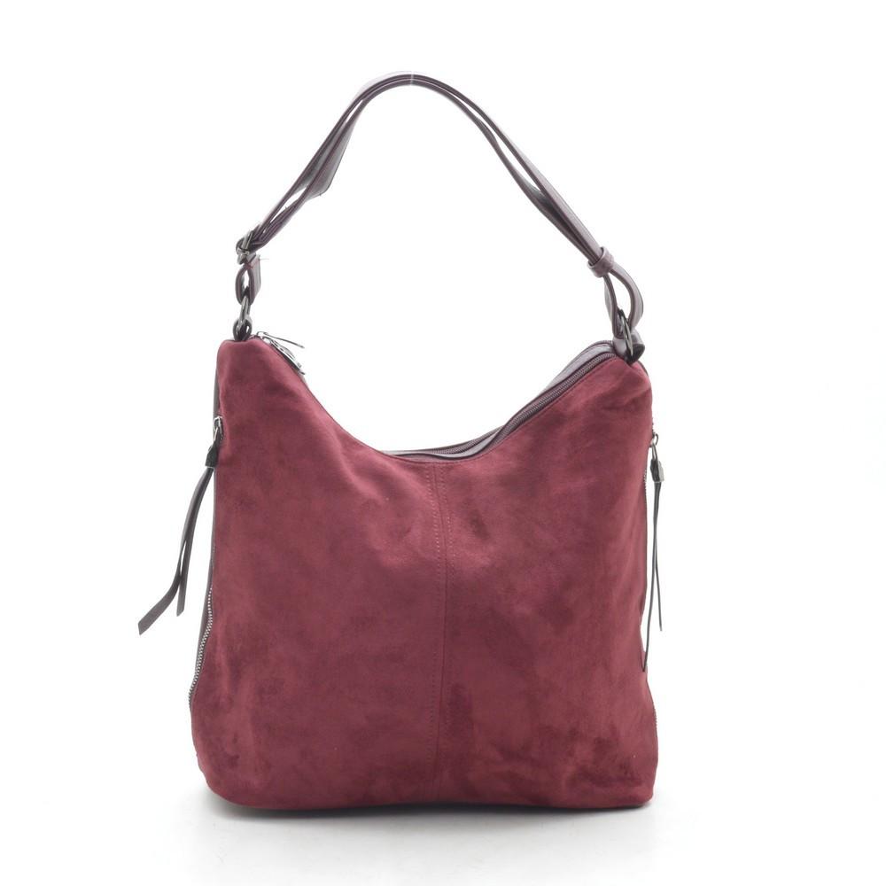 Женская сумка красная мягкая искусственная замша 191410