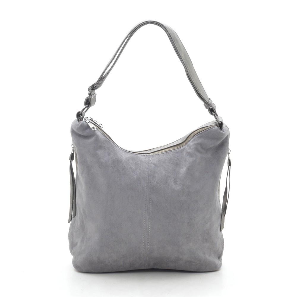 Женская сумка серая мягкая искусственная замша 191417