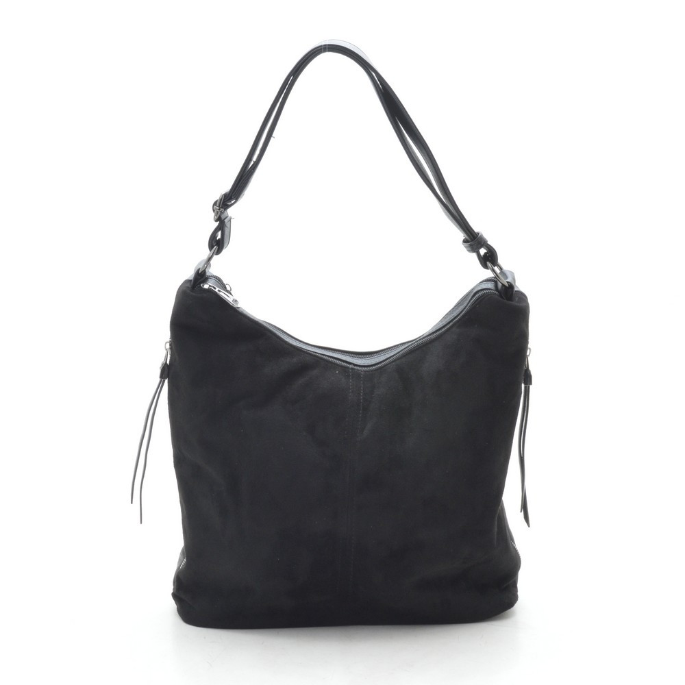 Женская сумка черная мягкая искусственная замша 191436