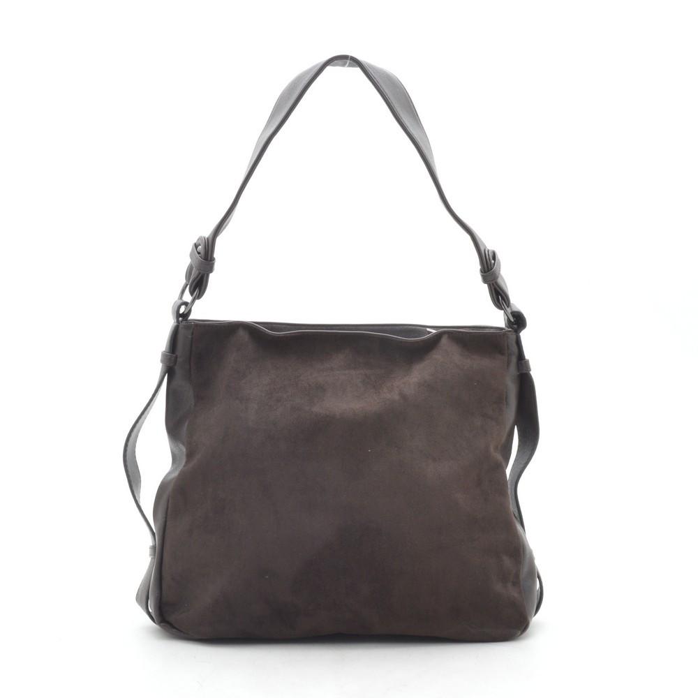 Женская сумка коричневая мягкая искусственная замша 191463