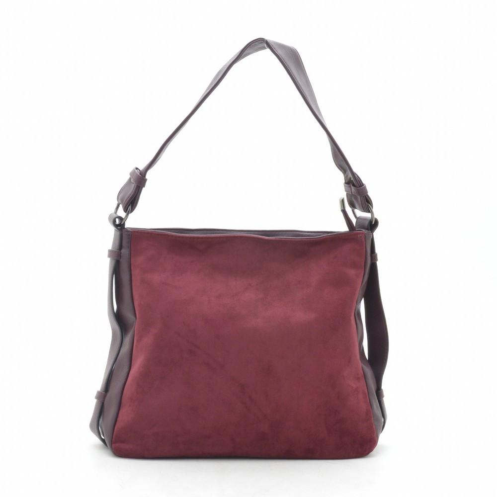 Женская сумка красная мягкая искусственная замша 191466