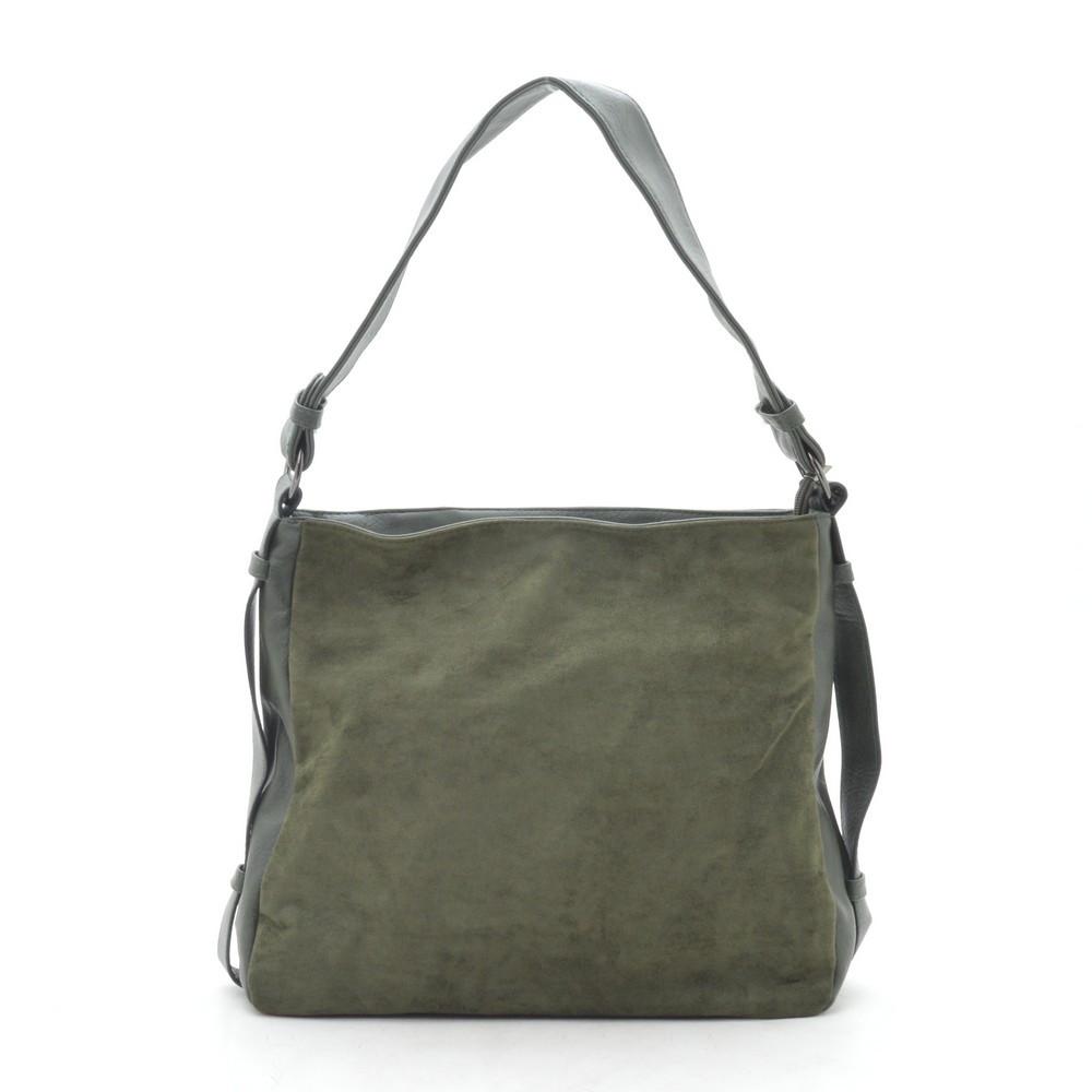 Женская сумка зеленая мягкая искусственная замша 191472