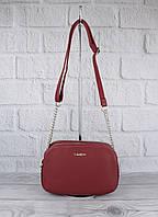 Клатч, сумочка через плечо на 3 отдела David Jones 6100-2 бордовая, фото 1
