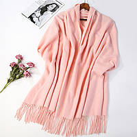 Шарф палантин нежно-розовый шерсть зимний