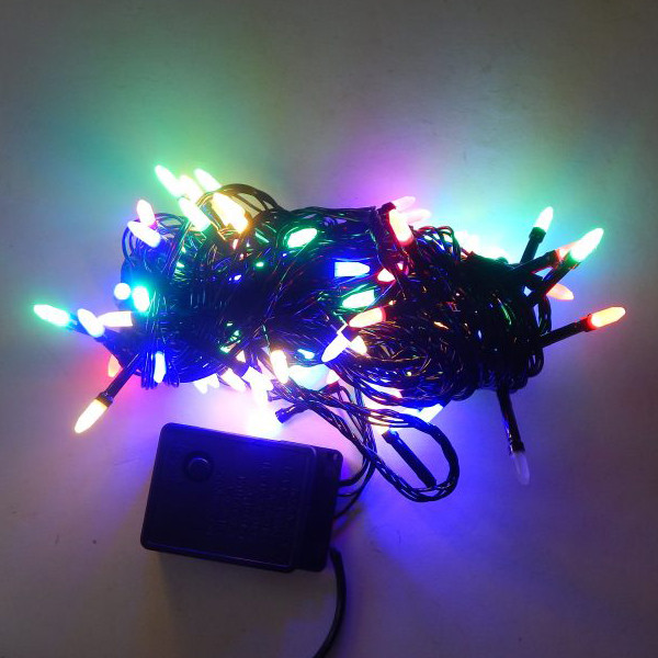 Гирлянда Нить Семечка Перламутр электрическая, 100 led, мульти, черный провод, 6м.