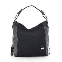 Женская сумка черная со вставкой из натуральной замши 194449, фото 1