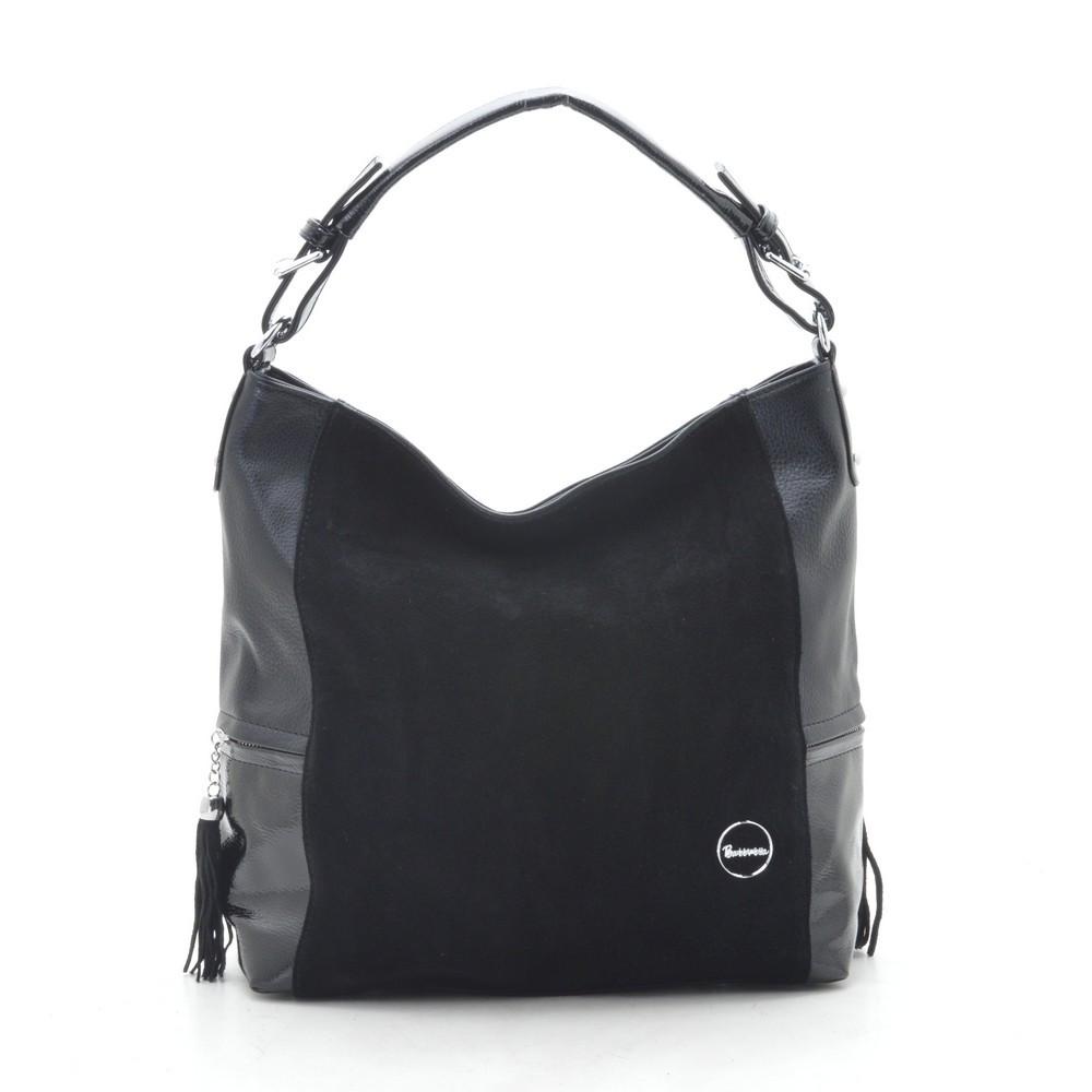 Женская сумка черная со вставкой из натуральной замши 194449
