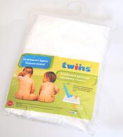 Детская махровая дышащая клеенка Twins 100×70 см, белый