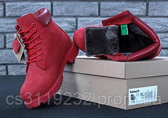 Женские ботинки зимние Timberland (мех) (красный)