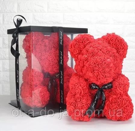 Мишка из искусственных роз в коробке 25 см (красный, белый, розовый), фото 1