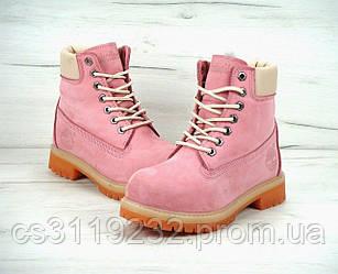 Женские ботинки зимние Timberland (иск.мех) (розовый)