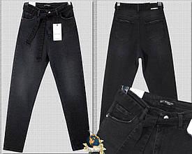 Модные женские джинсы Mom чёрного цвета с поясом Martin Love