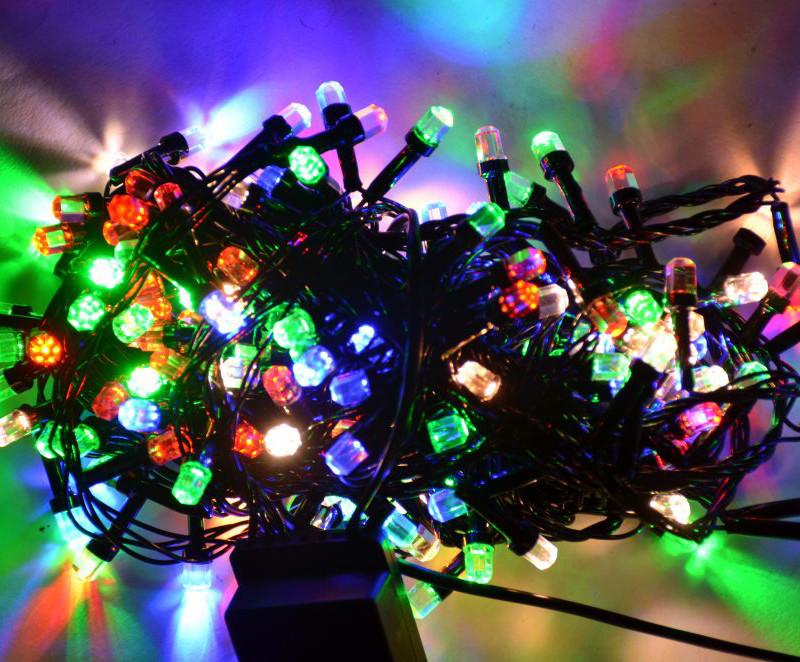 Гирлянда Нить Кристалл электрическая, 200 led, мульти, черный провод, 11м.