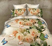 Постельное белье из Бязи Голд персикового цвета Розы