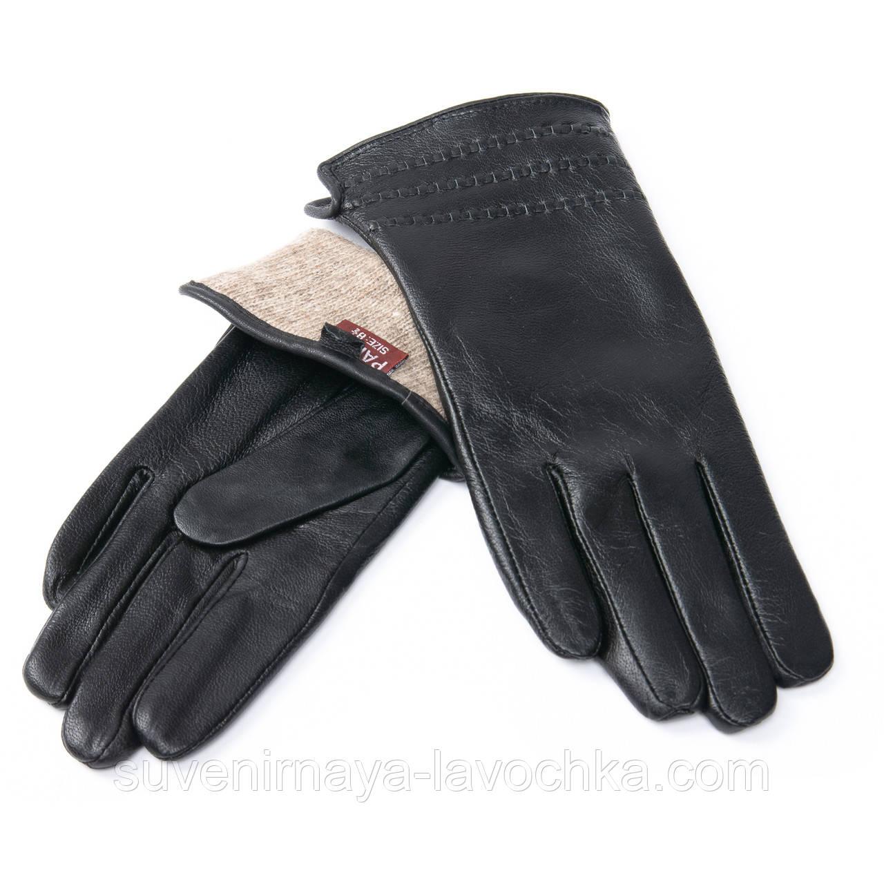 Кожаные женские перчатки, черные. Подкладка - шерсть. MOD 7