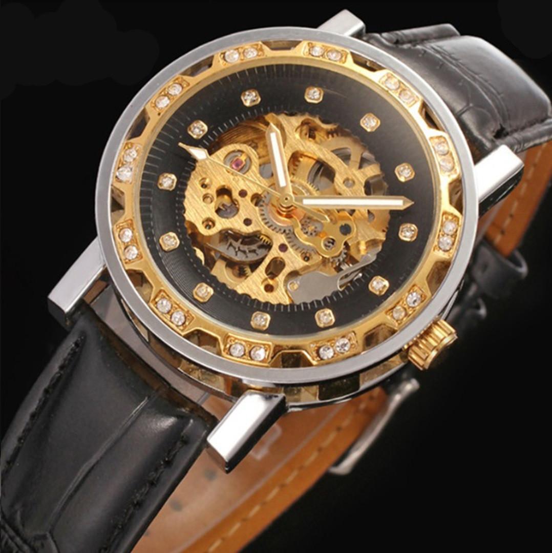 Механические часы Winner Simple Diamonds (black-gold)