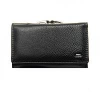 Женский кожаный кошелек  14*8,5*4 черный, фото 1