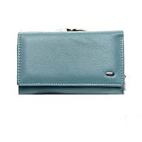 Женский кожаный кошелек  14*8,5*4 голубой, фото 1