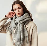 Зимний шарф палантин шерстяной серый