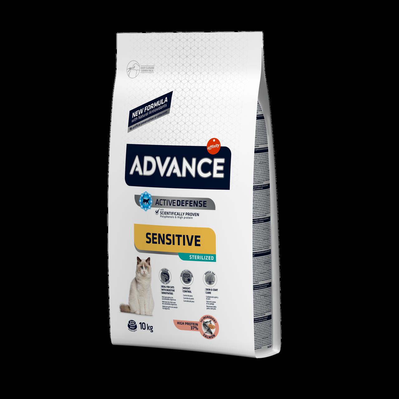 Advance Cat STERILIZED Sensitive with Salmon 10 кг - корм для чувствительных стерилизованных кошек (лосось)