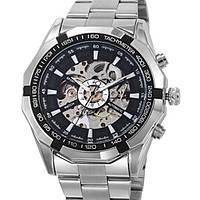 Мужские механические наручные часы Winner TM340 Steel Skelet Silver (M_G_080419_40-2)