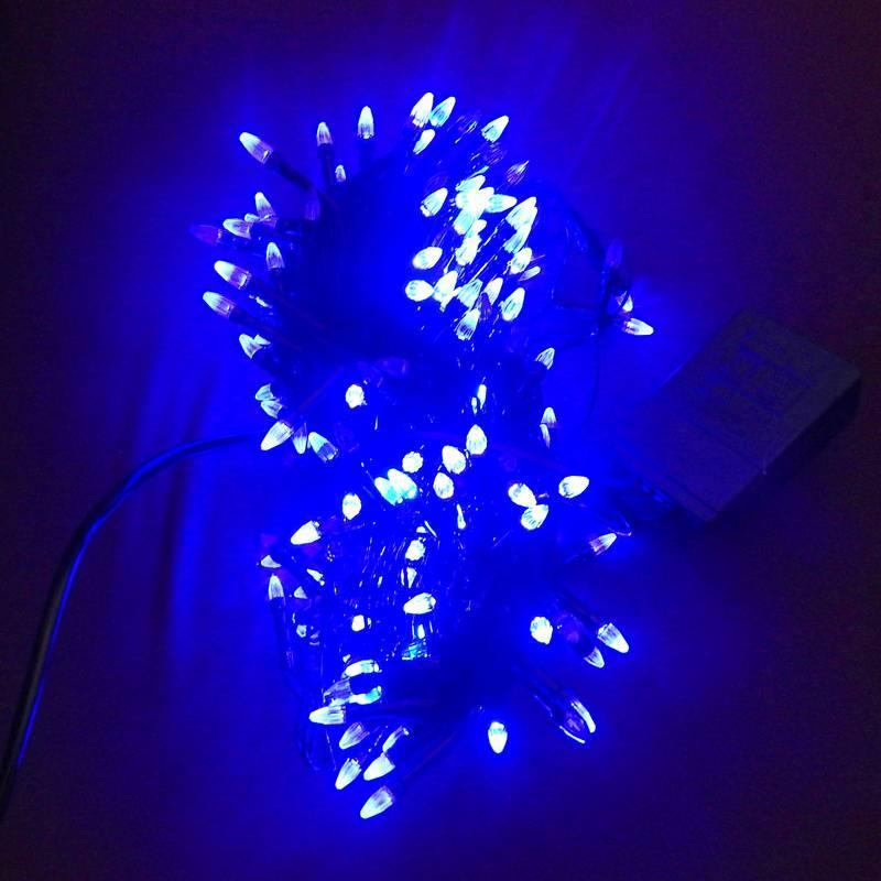 Гирлянда Нить Конус-Рис электрическая, 300 led, синяя, черный провод, 14,5м.