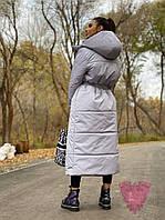 Плащевое двухстороннее зимнее Женские пальто с капюшоном и поясом 71mpa250