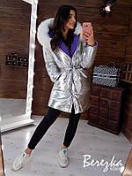 Зимняя двухсторонняя куртка с капюшоном и меховой опушкой 66mku181Е