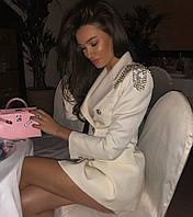 Платье - пиджак с погонами и бахрамой из цепей 71mpl267