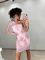 Платье с кружевом на сетке и одним рукавом из сетки 71mpl271
