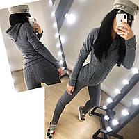 Женский стильный костюм из 3D трикотажа Герда \ серый, фото 1
