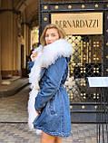 Джинсовая куртка парка с натуральным мехом ламы на капюшоне, фото 2