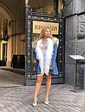 Джинсовая куртка парка с натуральным мехом ламы на капюшоне, фото 3
